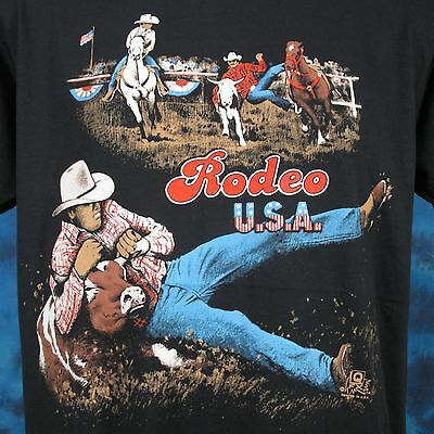 vintage 80s COWBOY STEER WRESTLING RODEO USA PAPER THIN T-Shirt LARGE bull horse