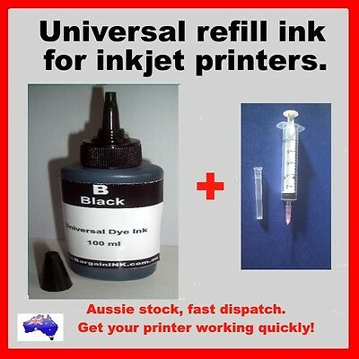 100 ml Universal Black refill dye ink for inkjet printers