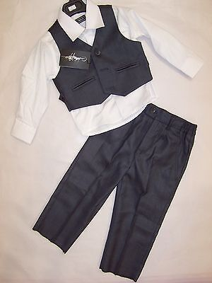 Bnwt Boys Three Piece Vest Suit Charcoal With White Shirt- Size 0 To 16