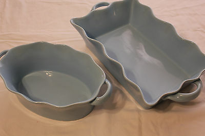Perfect Set 2 Bia Hand Glazed Bake Ware Robin's Egg Blue Ruffled Edge ShabbyChic