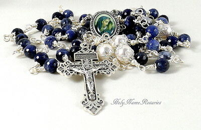 Our Lady of Sorrow Rosary Beads Blue Denim Lapis Wire Wrapped Unbreakable
