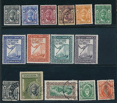1896 - 1966 Zanzibar VARIOUS ISSUES AS SHOWN, MH & USED, CAT VALUE $40