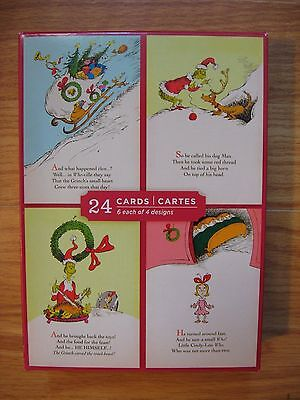 Dr. Seuss Christmas Holiday Greeting Cards 24 Cards 4 Designs Image Arts Grinch