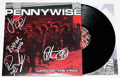 Pennywise Band Signed Land Of The Free Lp Vinyl Jim Lindberg Autographed +Coa
