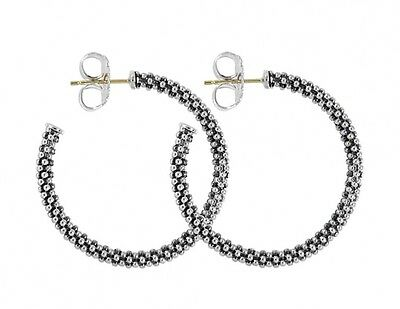 Lagos SIGNATURE CAVIAR HOOP EARRINGS Sterling Silver 14k Gold Post