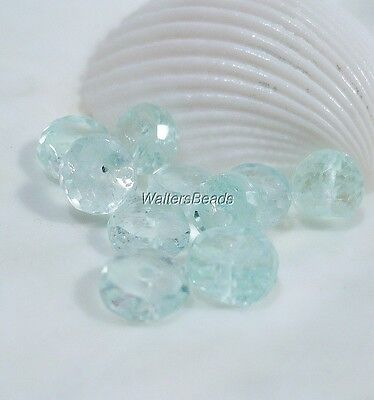 100% Natural Aquamarine Faceted Rondelles Birthstone March 6 MM (10)
