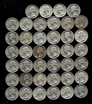 ONE ROLL OF WASHINGTON QUARTERS (1941-59)  90% Silver  (40 Coins)  LOT C15