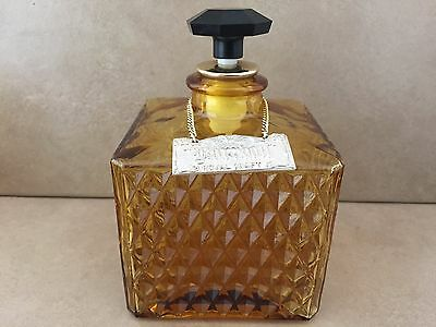 Vintage Decanter Royal Craft Bourbon Amber Diamond Cut Glass With Tag Square