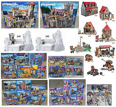 NEW Playmobil Knights 2 Castles 80+ Figures 4 Playsets Accessories HUGE LOT RARE