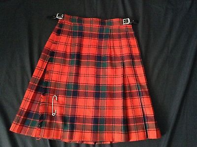 "BOYS Wool YORKLAND KILT opens on right WAIST 25-26.5"" 2 LEATHER STRAPS"