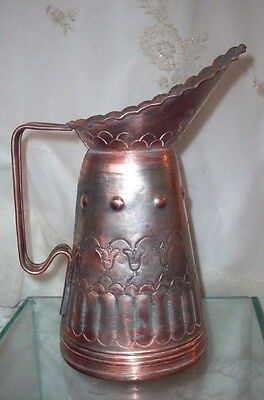 Antique 1800s FRENCH COUNTRY ETCHED COPPER WATER MILK LAIT PITCHER Farm
