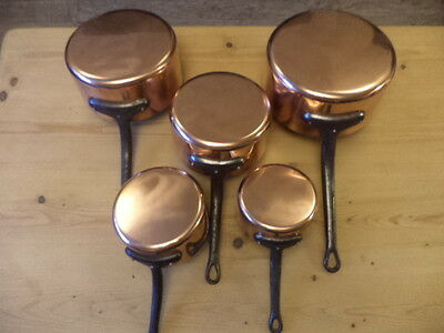 5 FRENCH COPPER PANS SAUCEPANS TIN LINED 3.5kg