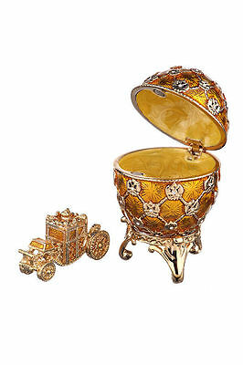 Faberge Egg Trinket Jewel Box Russian Coat of Arms & Carriage 2.6'' 6.5cm yellow