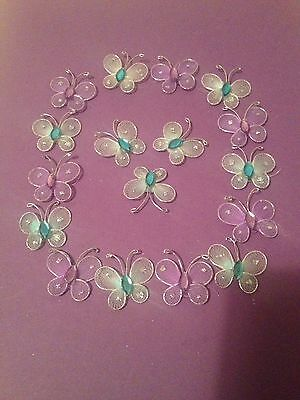 21 X Butterfly Embellishments, Purple And Blue With Gems