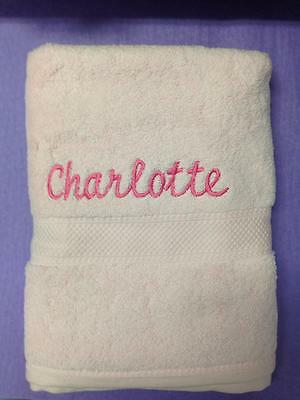 Pink Personalised Bath Towel with Embroidered Name 'Charlotte' - Baby Kids Gift