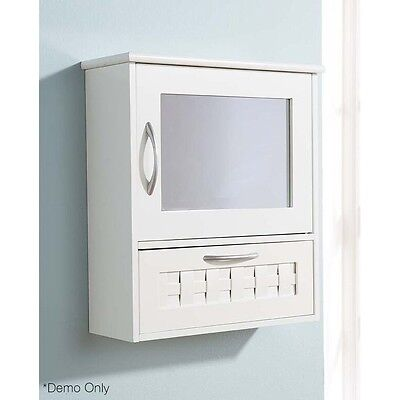 Weave Mirror Cabinet Shaving X Bathroom Pencil Vanity Bevel White Crome handles