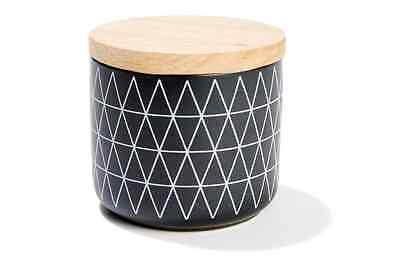 Black Canister - White Geometric Design Kitchen Food / Storage Jar