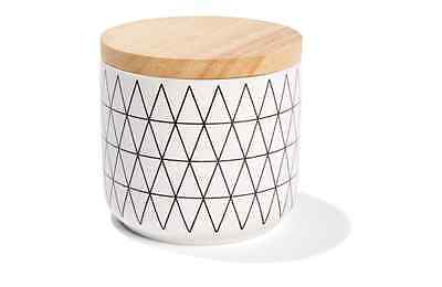 White Canister - Black Geometric Design Kitchen Food / Storage Jar