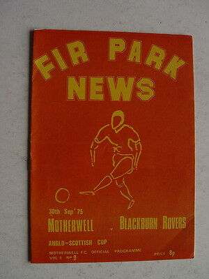 Motherwell v Blackburn Rovers 1975/76 Anglo Scottish Cup