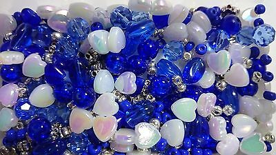 White, Blue and Silver Bead Mix Jewellery Bracelet Making Berties Beads hearts