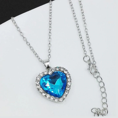 NEW Titanic Heart of The Ocean Silver Blue Diamond Necklace Her Valentines Gift