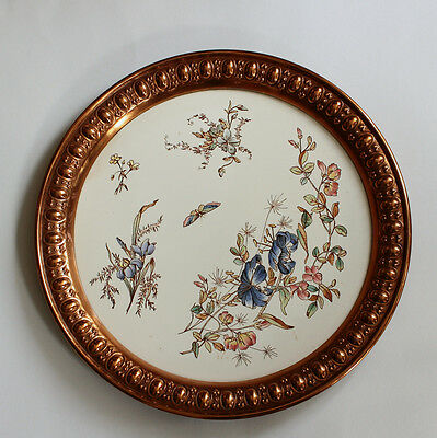 ANTIQUE GERMAN SERVING TRAY ** TURK'S CAP LILY & BUTTERFLY WAECHTERSBACH 19th C.