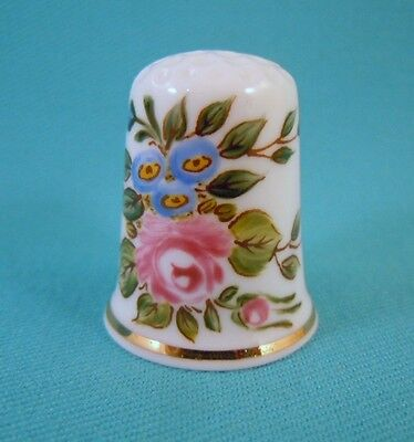 Thimble Porcelain HAND PAINTED Bone China with Rose