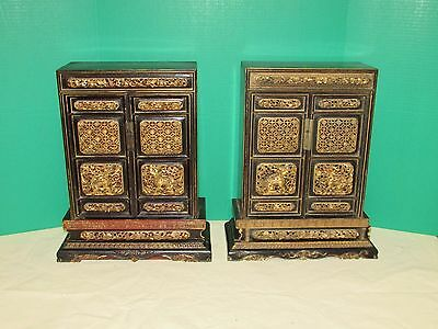 Near Pair Antique Chinese Alter Cabinets w Carving and Screen Painting