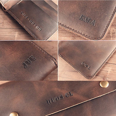 Genuine Leather Customs Engraved Personalized Wallet Notebook Gift Name Identify