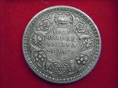 1943 George V1 Half A Rupee Coin From India  From My Collection [G75]