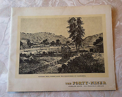 1941 The Forty Niner Railroad Dining Car Stamped Breakfast Menu Sutter's Mill