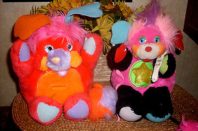 """1986 Vintage Popples Stuffed Toy Rock Star Punkity with Microphone 10"""" PLUS BANK"""