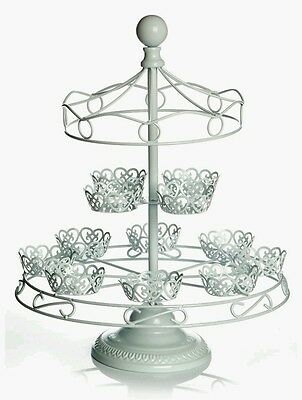 Shabby Chic Cake Cupcake Carousel Stand Ivory Metal Holder NEW