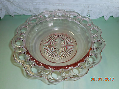 """Old Colony Pink Depression Anchor Hocking 7 3/4"""" SALAD Bowl Open Lace Edge"""