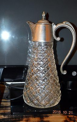 Beautiful Silver Plated Glass Claret Wine Jug  Decanter Vgc