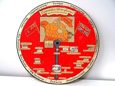 very rare 1930s Canada at a Glance & Newfoundland Indicator Wheel TEACHING AID