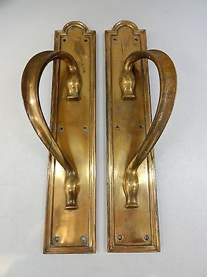 "2nd PAIR 16"" HEAVY BRASS ART NOUVEAU DOOR PULL HANDLES PLATES KNOBS"