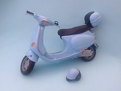 Barbie Blue Vespa Moped Motorcycle Scooter with Helmet Good Used Condition