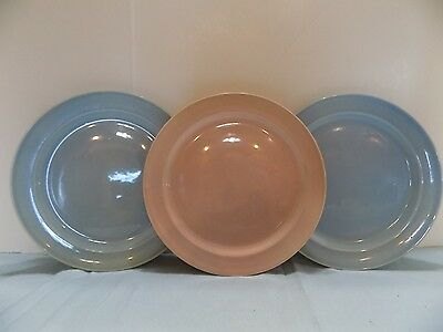 "Luray Pastel  3  DINNER PLATES  9 1/4"" 2 BLUE  1 PINK (R4-4) NO.3"