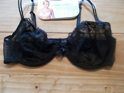 brand new size 34D black lace underwired bra .