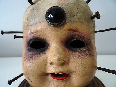 FRANKENSTEIN BABY antique doll head LAMP oddity AWESOME composite nails screws