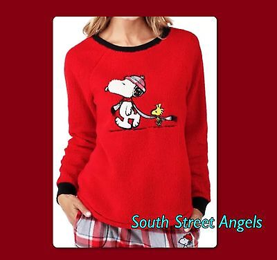 PEANUTS ~ SNOOPY & WOODSTOCK RED MICROFLEECE JOGGER PANT ~ Misses XL ...