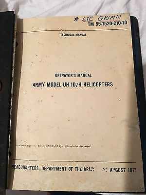 Army Model UH-1D/H Helicopter Operator's Manual TM 55-1520-210-10
