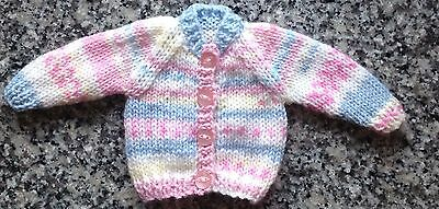"Dolls clothes hand knitted for 12-14"" doll's  cardigan, also premature baby"