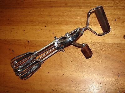Vintage Prestige Stainless Steel and Wood Rotary Hand Whisk