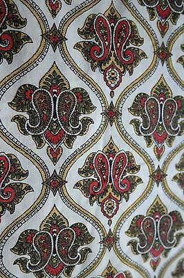 Vintage shabby chic French  c1950s cotton interior fabric provencal 69""
