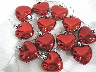 "Valentines Day  Shiny Red Hearts 2"" Ornaments Decorations Set of 12"