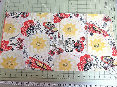 """Small Vintage Novelty Print Feedsack  23"""" x 24"""" People Swimming Fish Beach- Red"""