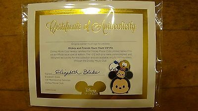 TSUM TSUM Mickey and Friends Disney Movie Club VIP Exclusive Pin with COA New