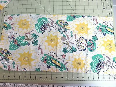 "Small Vintage Novelty Print Feedsack  23"" x 24"" People Swimming Beach- Yellow"